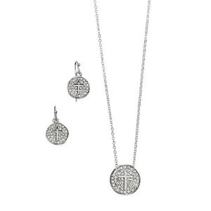 Pave Cross Necklace and Earring Set